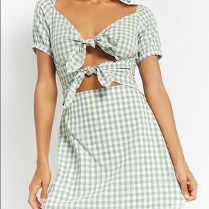 Forever21 Gingham Tie Front Dress